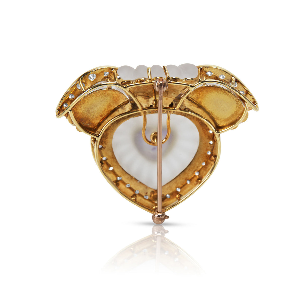 BRAND NEW Frosted Quartz, Diamond & Amethyst Heart Brooch in 14k YG (2.00 CTW)