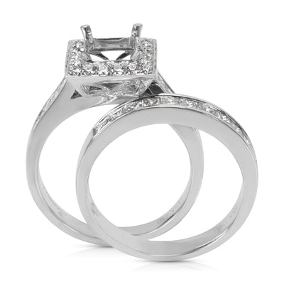 BRAND NEW Square Halo Princess Diamond Engagement Ring Setting in 18KT Gold