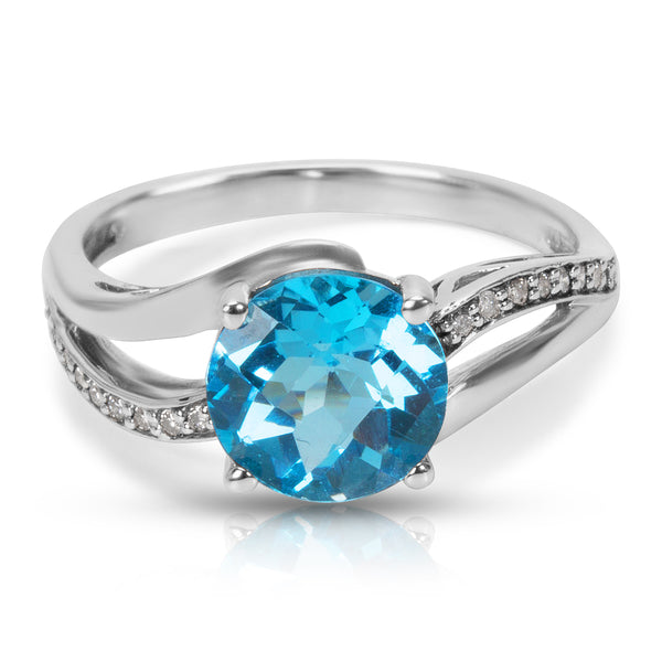 BRAND NEW Blue Topaz & Diamond Fashion Ring in 10K White Gold (0.09 CTW)