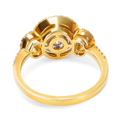 BRAND NEW Double Halo Cluster  Diamond Ring in 18K Two Tone Gold (0.54 CTW)