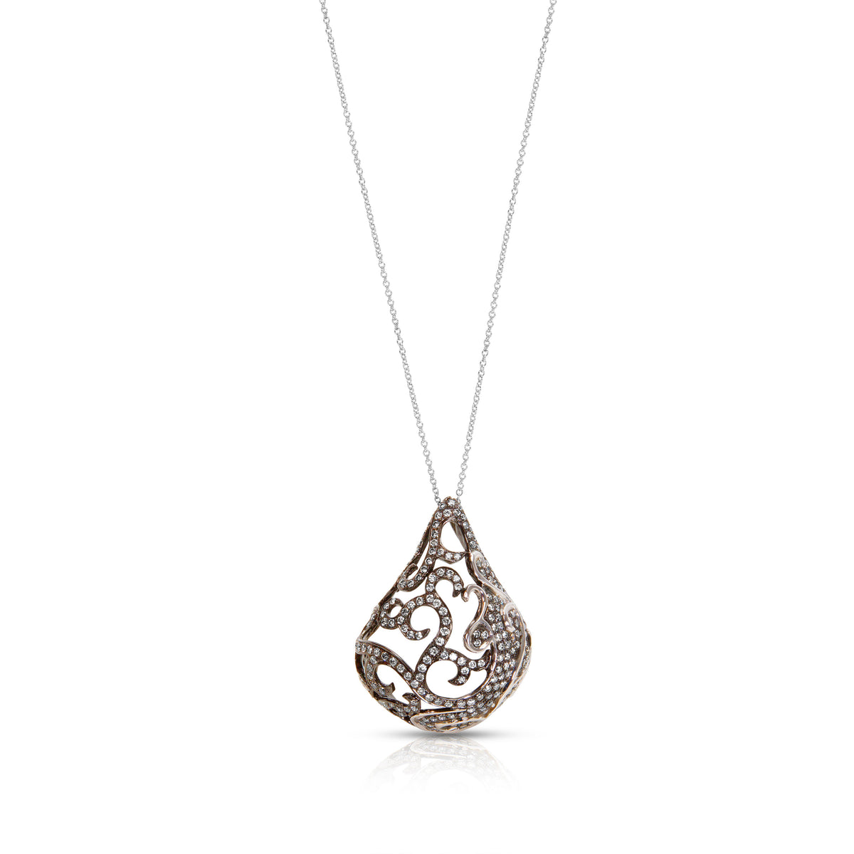 Black Rhodium Diamond Lantern Pendant in 18k White Gold with Chain (1.77 CTW)