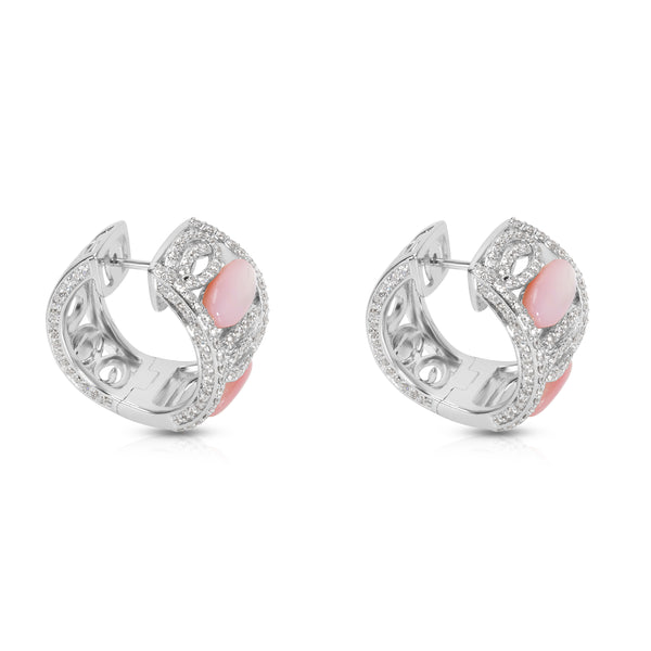 BRAND NEW Mother of Pearl & Diamond Earrings in 18K White Gold (1.00 CTW)