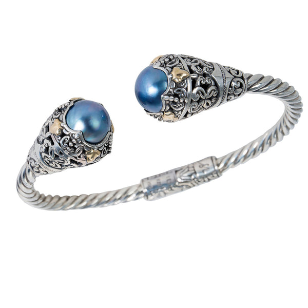 BRAND NEW Robert Manse Blue Mabe Pearl Cuff Bracelet in SS & 18K Yellow Gold