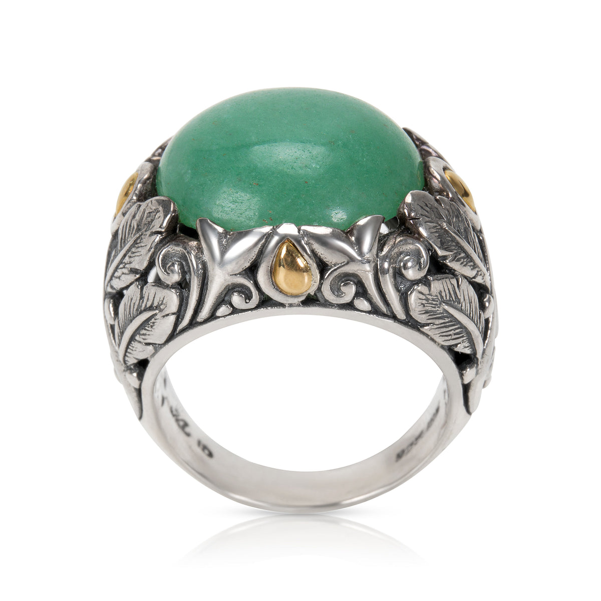Robert Manse Green Quartz Fashion Ring in 18k Yellow Gold & Sterling Silver