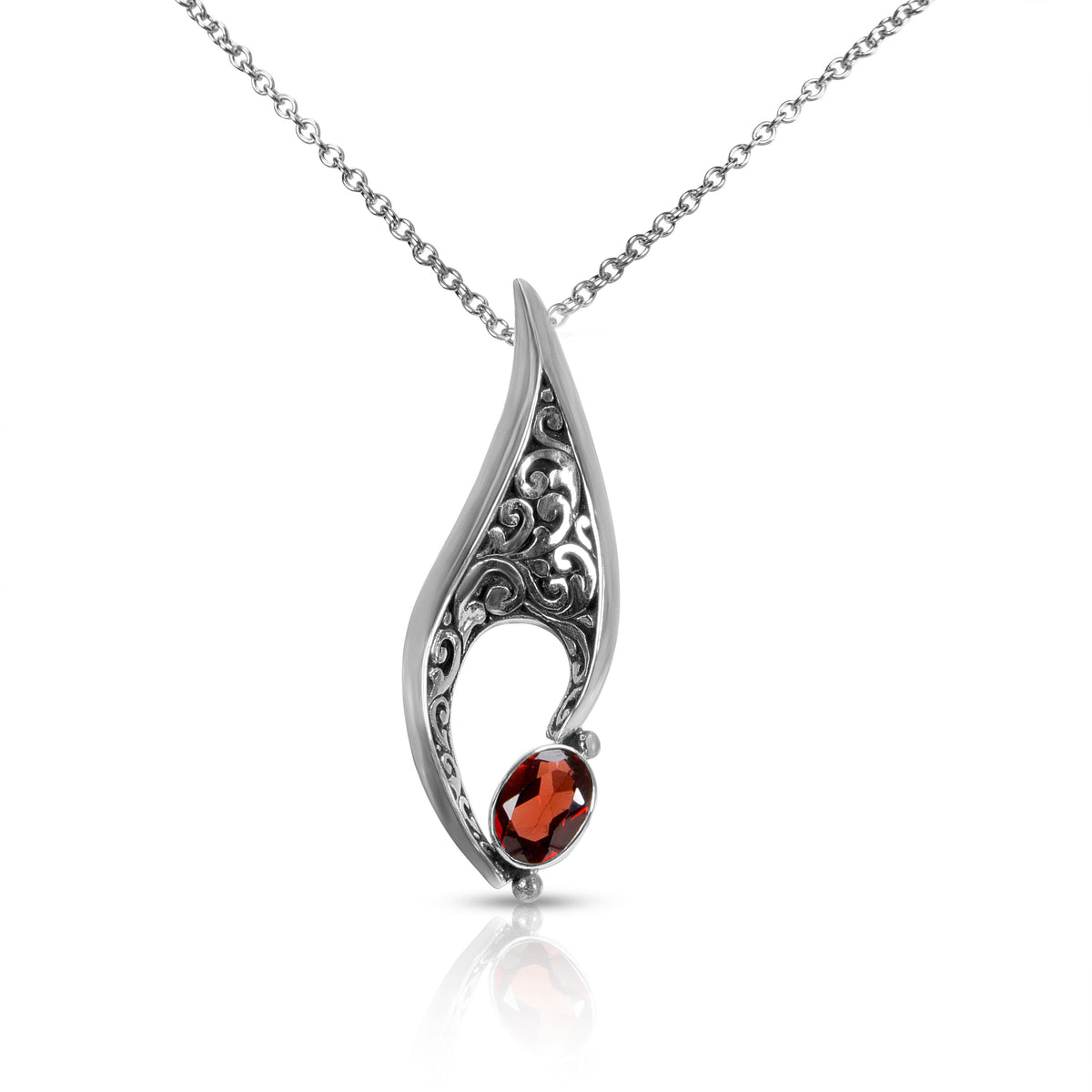 Robert Manse Garnet Modern Scrollwork Pendant in Sterling Silver with Chain