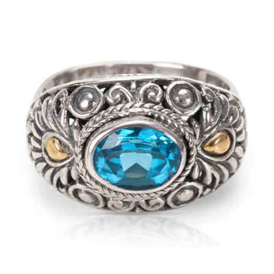 Robert Manse Blue Topaz Fashion Ring in 18KYG and Sterling Silver