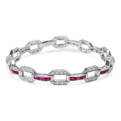 Vintage Style Channel Set Diamond & Ruby Bracelet in 18k White Gold (4.40 CTW)