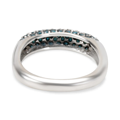 Pave Blue Diamond Ring in 18KT White Gold 1.00ctw