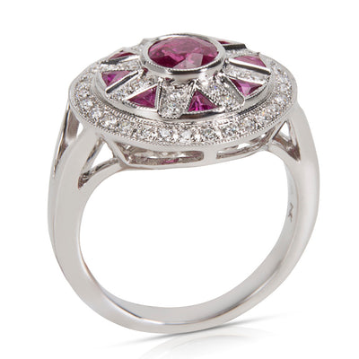 BRAND NEW Vintage Style Ruby & Diamond Ring in 18K White Gold (0.33 CTW)