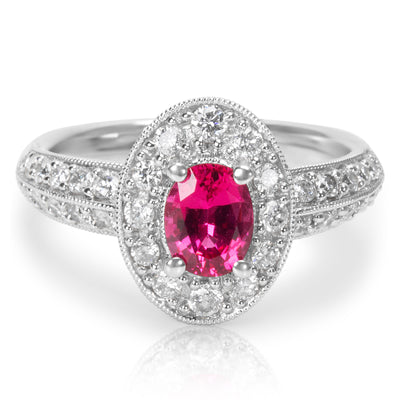 BRAND NEW Synthetic Red Spinel Fashion Ring in 18K White Gold (0.54 CTW)