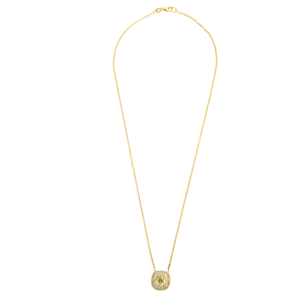 GIA Certified Brian Marlow Yellow Diamond Halo Pendant in 18K Gold 1.68 CTW