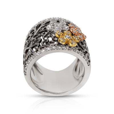 Diamond Tri Colored Flower Ring in 18KT White Gold 0.71 ctw