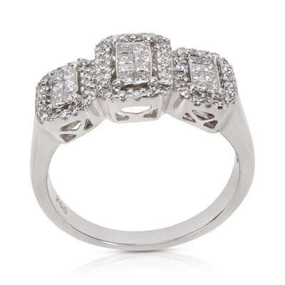 Illusion Set Diamond Three Station Ring in 18K White Gold (1.00 CTW)