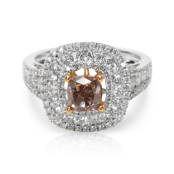 BRAND NEW Brown Diamond Engagement Ring in 18K 2 Tone Gold (2.06 CTW)