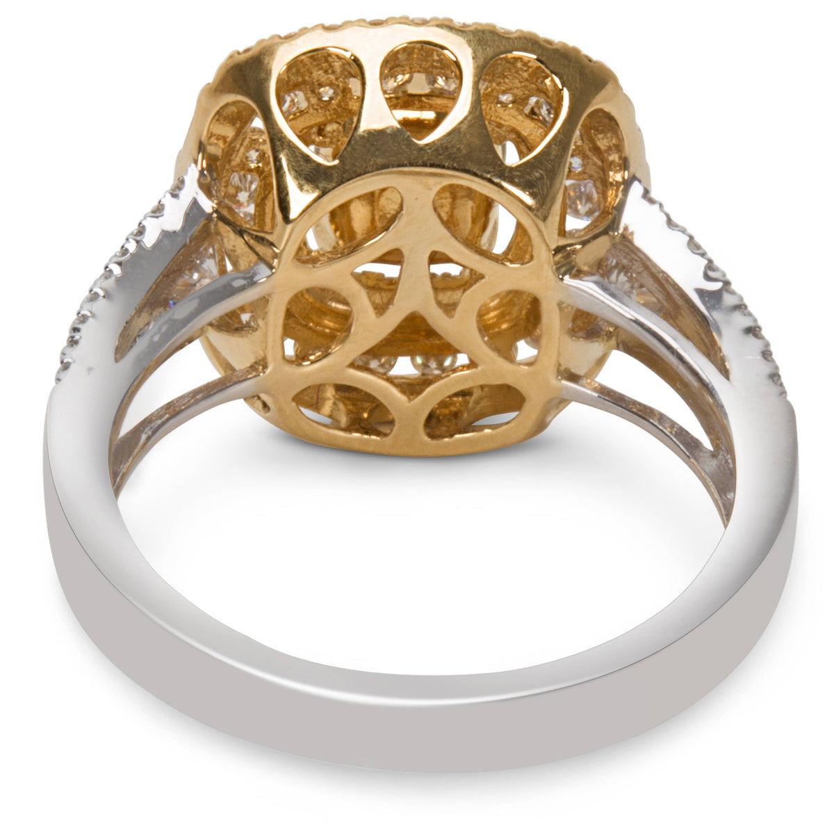 BRAND NEW Double Halo Diamond Ring in 18K Two Tone Gold (2.05 CTW)