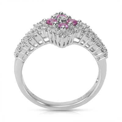 BRAND NEW  Diamond & Pink Sapphire Gemstone Ring in 18KT White Gold (0.75 CTW)