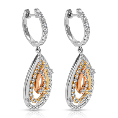 BRAND NEW Diamond Drop Earrings in 18K White/Yellow Gold (2.37 CTW)