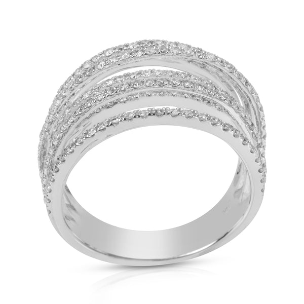 BRAND NEW Diamond Seven Row Staggered Ring in 14K White Gold (0.82 CTW)