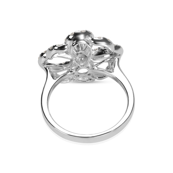 BRAND NEW Open-Work Flower Diamond Ring in 18K White Gold (1.14 CTW)