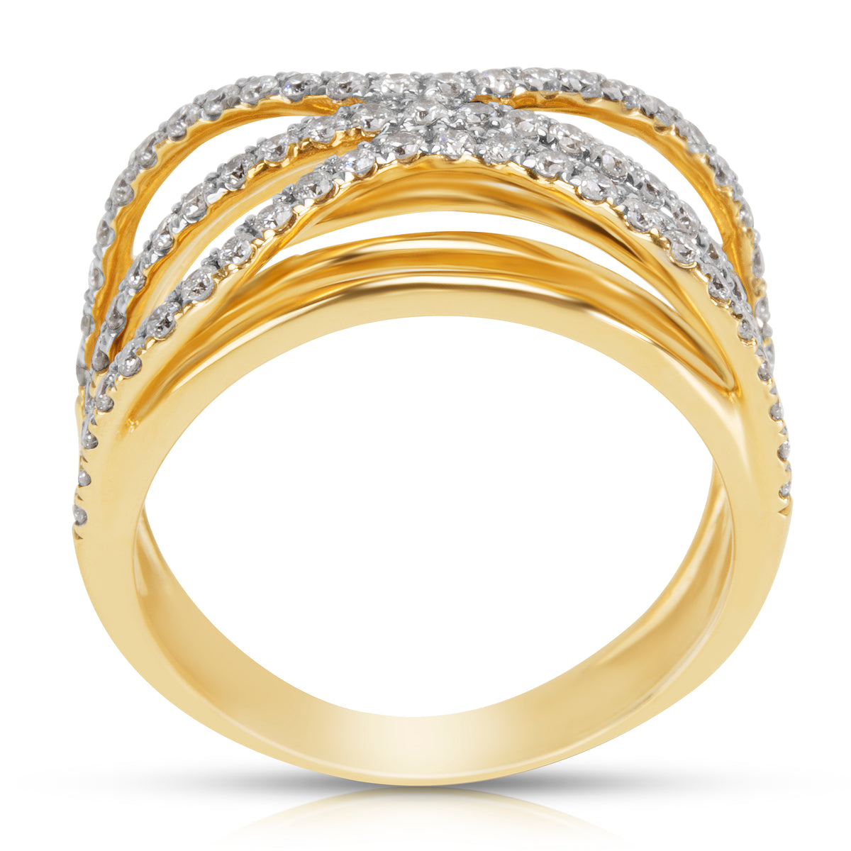 BRAND NEW Crossover Diamond Ring in 14K Yellow Gold (0.76 CTW)