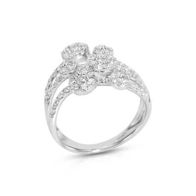 BRAND NEW Three Strand Multi-Flower Station Diamond Ring in 18K WG (1.02 CTW)