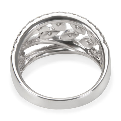 18KT White Gold Diamond Leaf Design Ring in 18KT White Gold 1.23 ctw