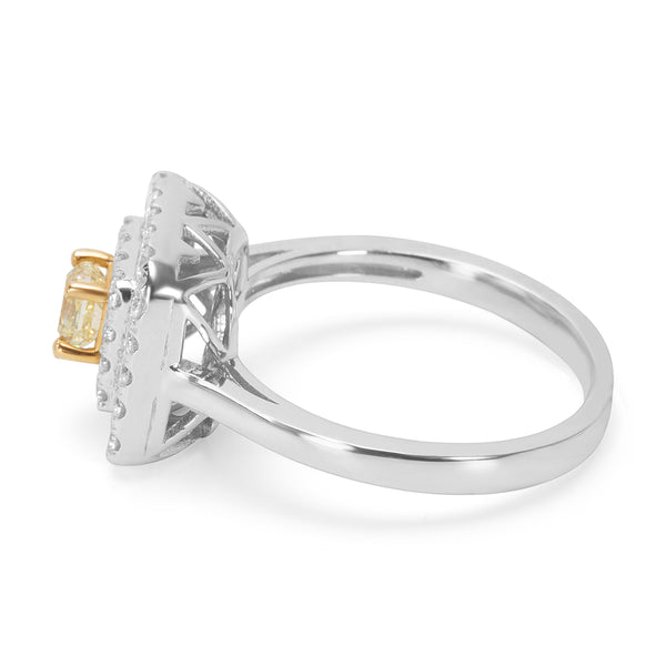 BRAND NEW Double Halo Fancy Yellow Diamond Engagement Ring in 14KT Gold 1.01 CT