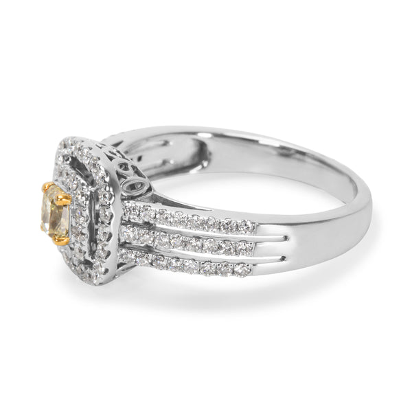 Double Halo Yellow Diamond Engagement Ring in 14K White Gold SI Clarity 1.01 CT