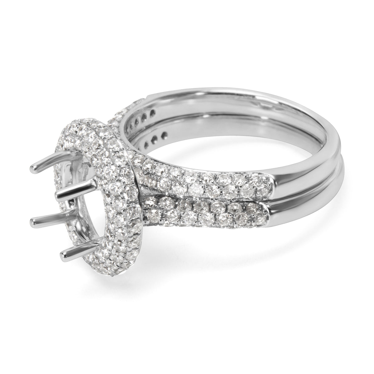 BRAND NEW Pave Diamond Engagement Ring Setting in 18KT White Gold (1.37 CTW)