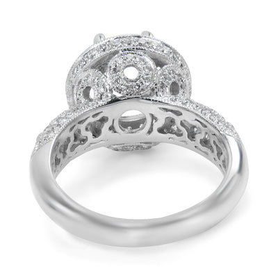 BRAND NEW Diamond Semi-Mount in 18K White Gold (1.06 CTW)