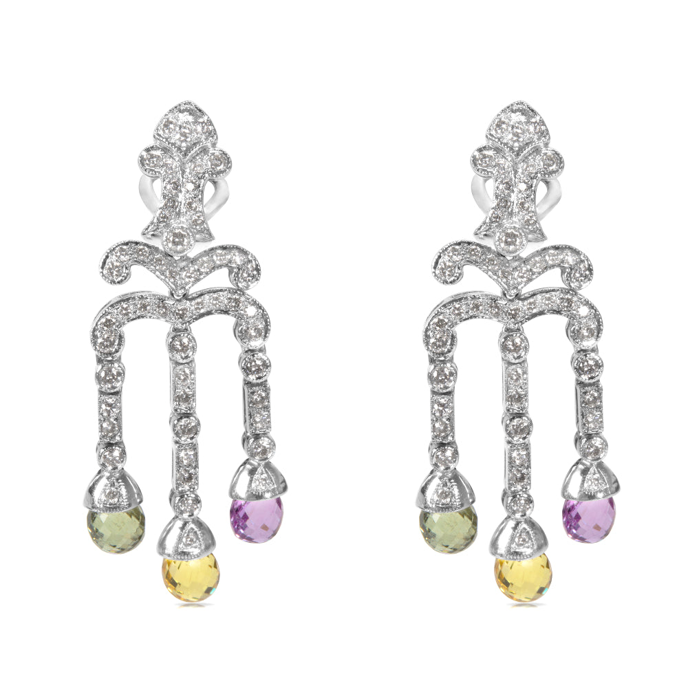 Diamond & Multi Color Sapphire Drop Earrings in 18K White Gold (1.33 CTW)