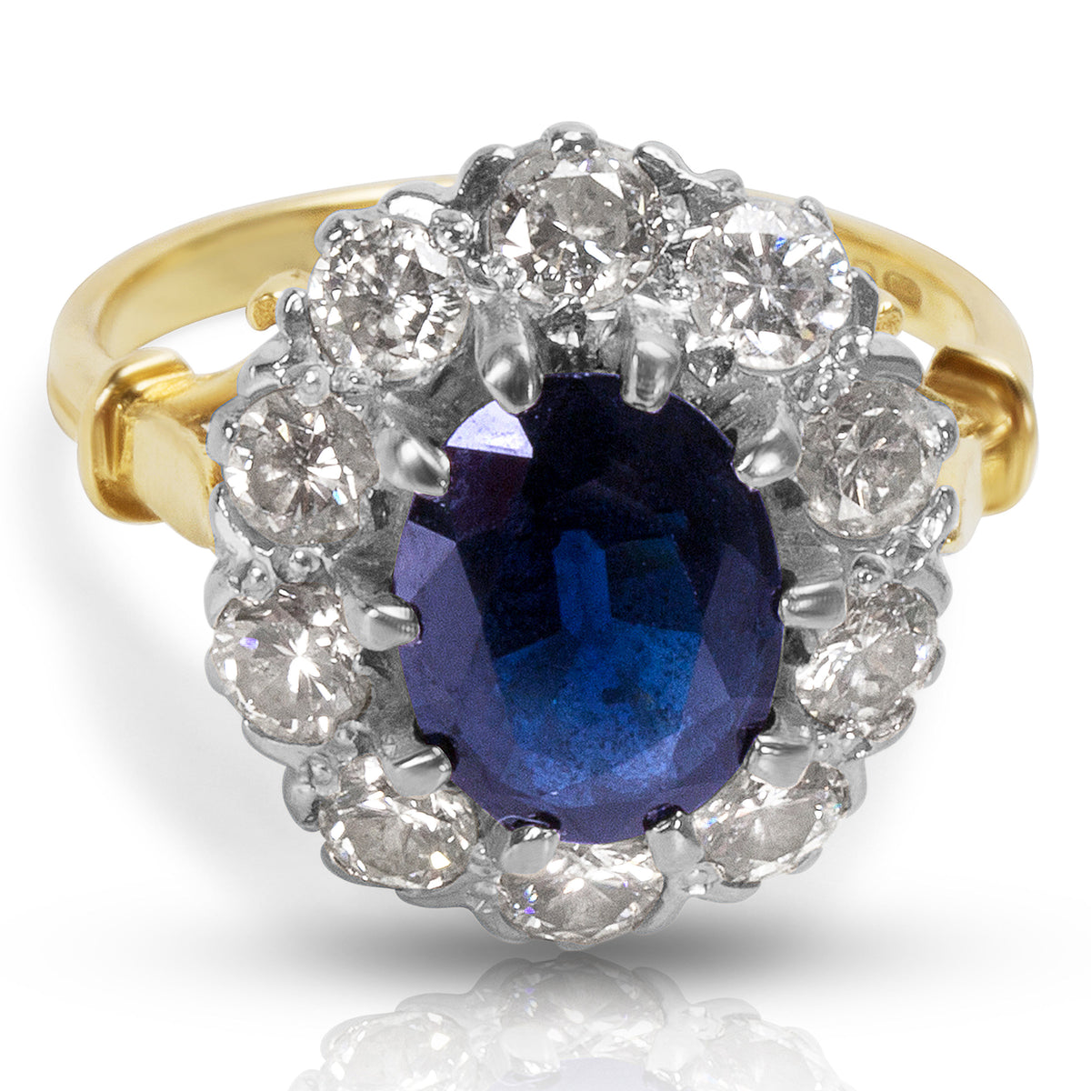 BRAND NEW Diamond & Sapphire Oval Fashion Ring in 18k Yellow Gold (1.25 CTW)