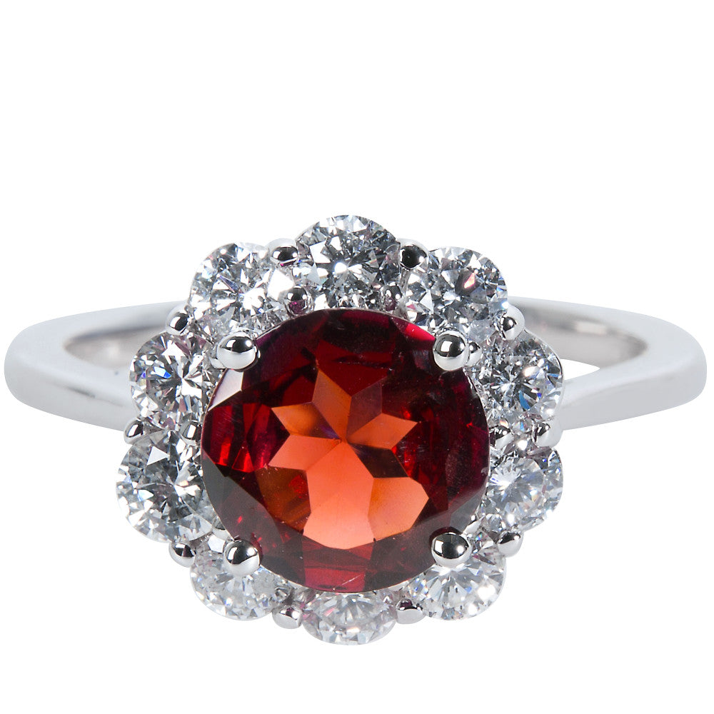 BRAND NEW Diamond Halo Ring with Garnet Center in 14KT White Gold (1 CTW)