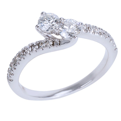 BRAND NEW Diamond Two Stone Ring in 14K White Gold 0.75 CTW