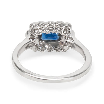 Sapphire & Diamond Vintage Style Ring in 18KT White Gold 0.92ctw
