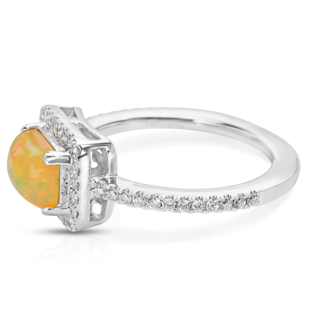BRAND NEW Opal and Diamond Fashion Ring in 14K White Gold (0.34 CTS)