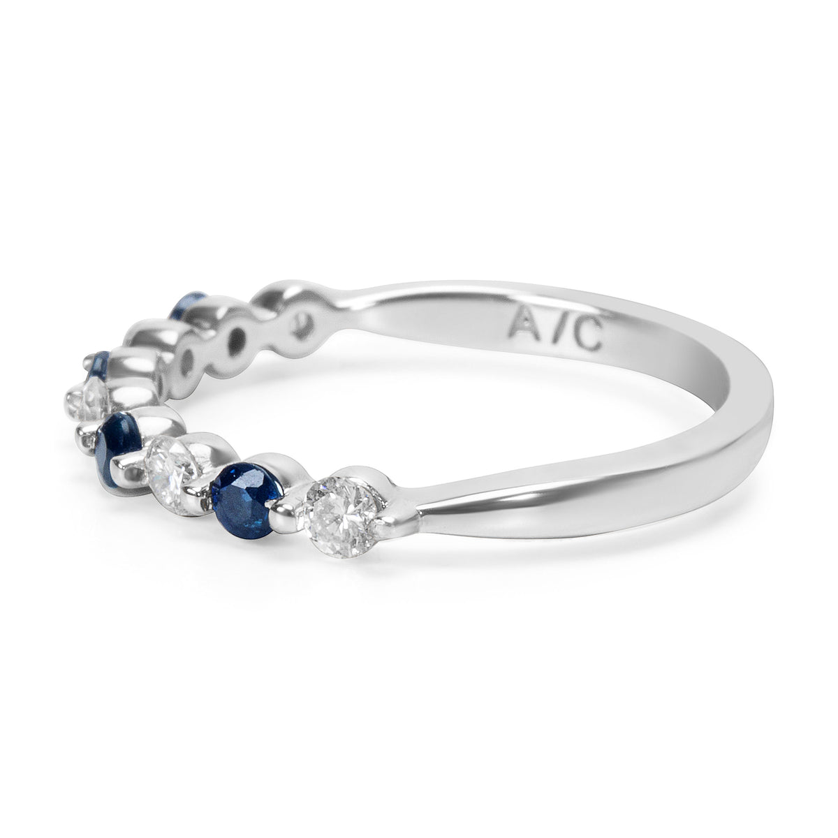 BRAND NEW Sapphire and Diamond Vintage Style Ring in 14K White Gold (0.26 CTW)