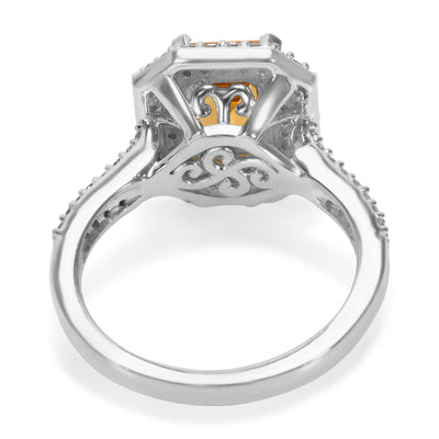 BRAND NEW Citrine Octagon Ring in 14K White Gold with Diamonds (0.70 CTW)