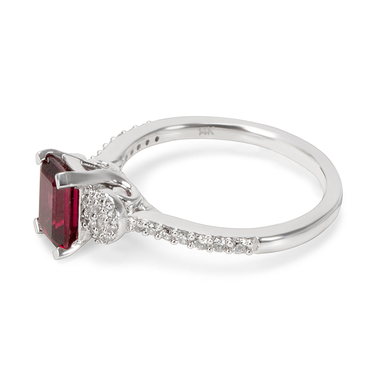 BRAND NEW Garnet Octagon Ring in 14K White Gold with Diamonds (1.37 CTW)