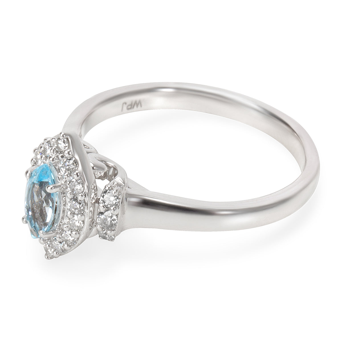Diamond Halo Blue Topaz Ring in 14K White Gold 0.62 ctw