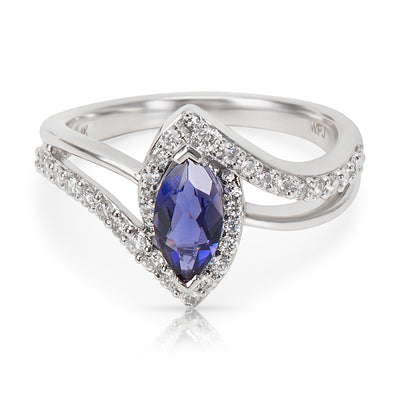 BRAND NEW Diamond & Iolite Marquise Ring in 14k White Gold (0.48 CTW)