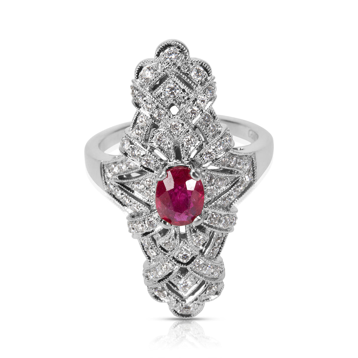 Ruby & Diamond Ring in 18K White Gold (0.60 CTW)