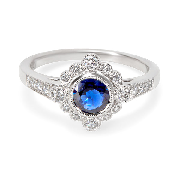 BRAND NEW  Vintage Style Sapphire & Diamond Ring in 18K White Gold (0.25 CTW)