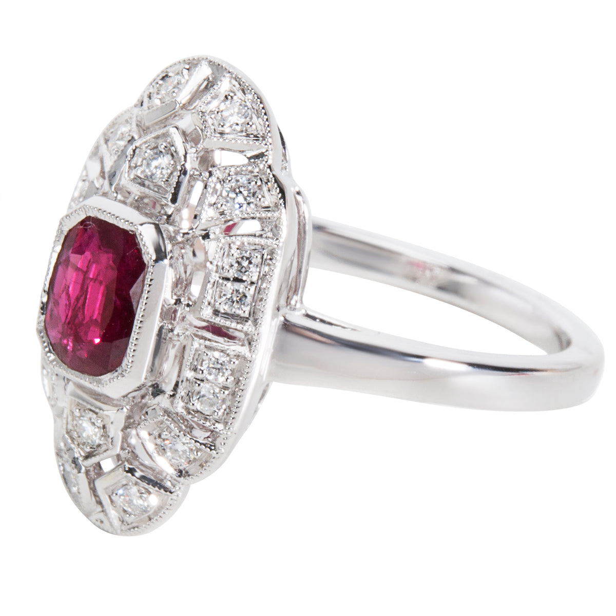BRAND NEW Ruby & Diamond Ring in 18K White Gold (0.14 CTW)