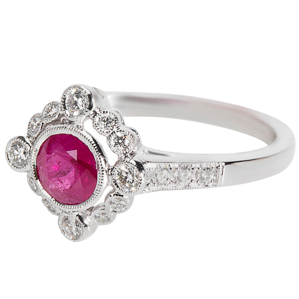 BRAND NEW Ruby & Diamond Ring in 18K White Gold (0.97 CTW)