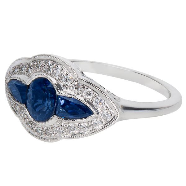 BRAND NEW Sapphire & Diamond Ring in 18K White Gold (0.15 CTW)