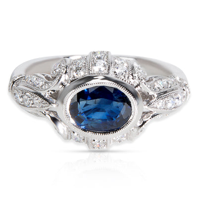 BRAND NEW Vintage Style Sapphire & Diamond Ring in 18K White Gold (0.55 CTW)
