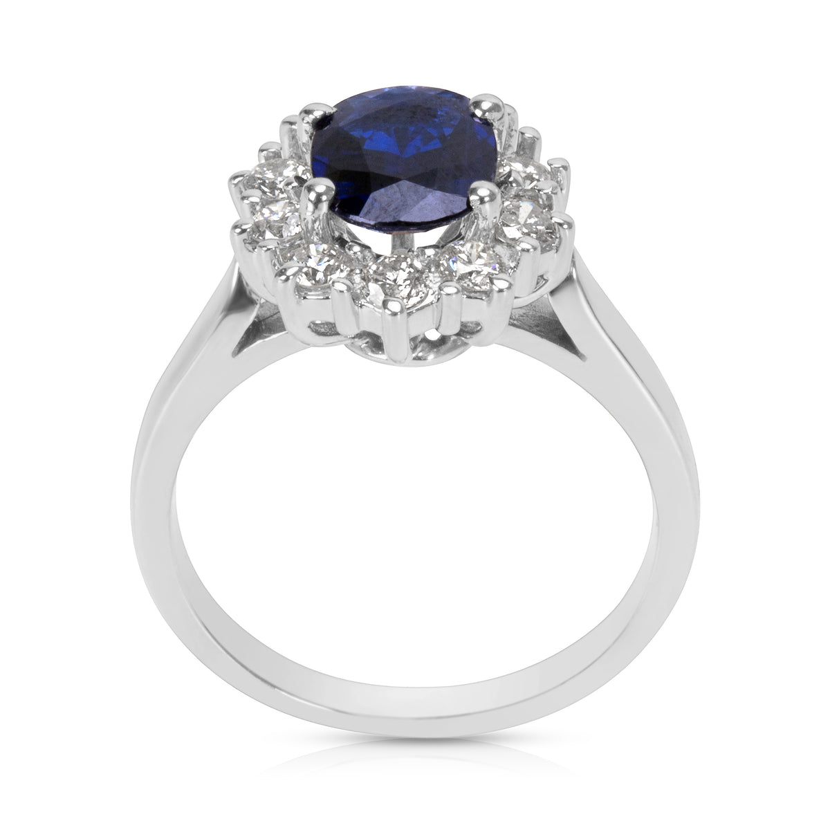 BRAND NEW Sapphire Center & Diamond Fashion Ring in 14K White Gold (0.50 CTW)