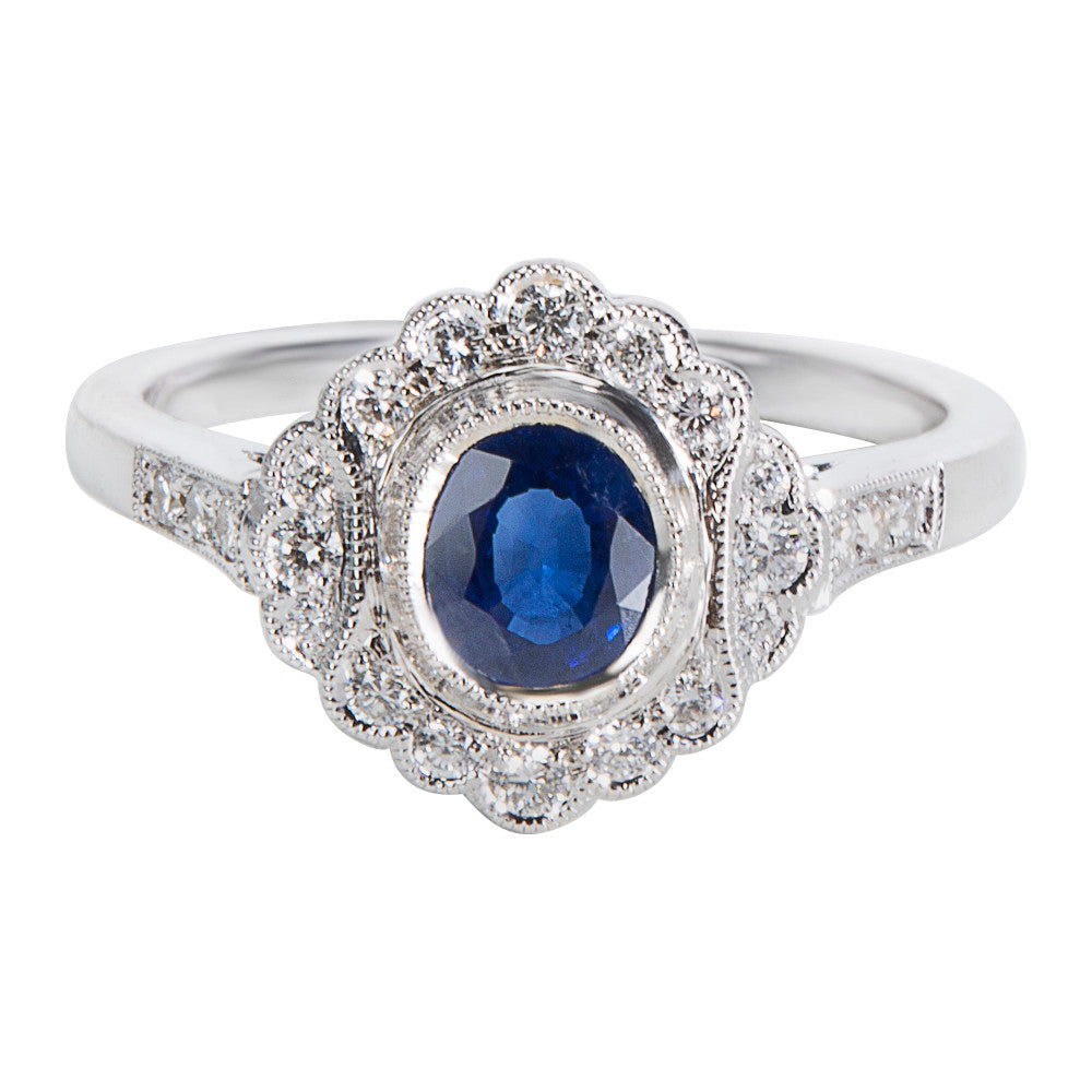 BRAND NEW Diamond & Sapphire Vintage Style Ring in 18K White Gold (0.22 CTW)