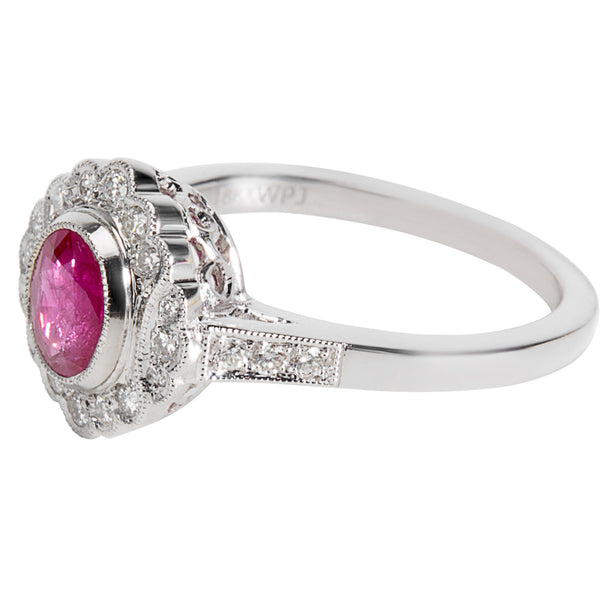 BRAND NEW Diamond & Ruby Vintage Style Ring in 18K White Gold (0.22 CTW)